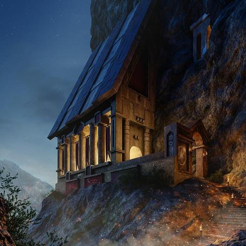 arch-viz 3d concept viking castle mountain night