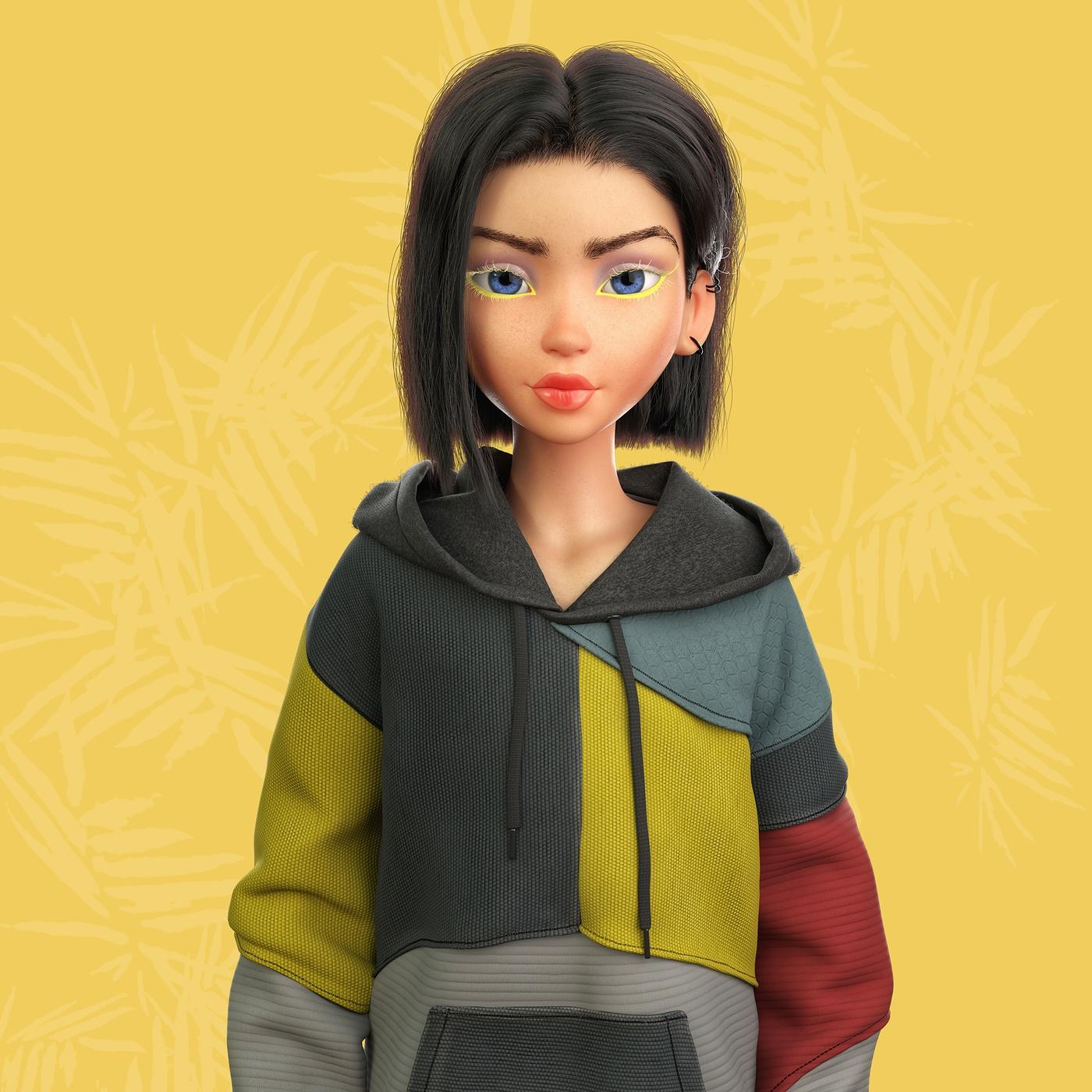3d character art model design render girl brunette