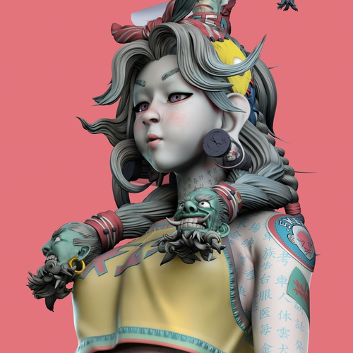 3d model female character asian inspired render