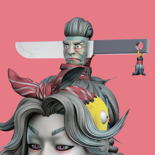 3d sculpture model render female character