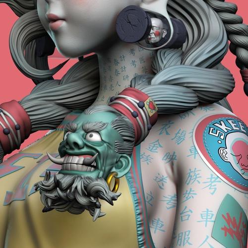 character model 3d sculpture asian inspired