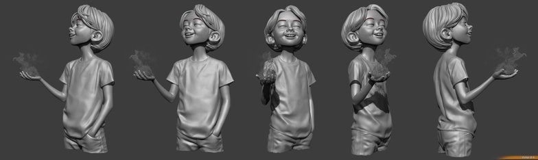 character model 3d sheet boy young witch magical fire