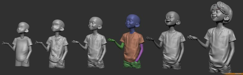 blocking character model colour effects rendering 3d