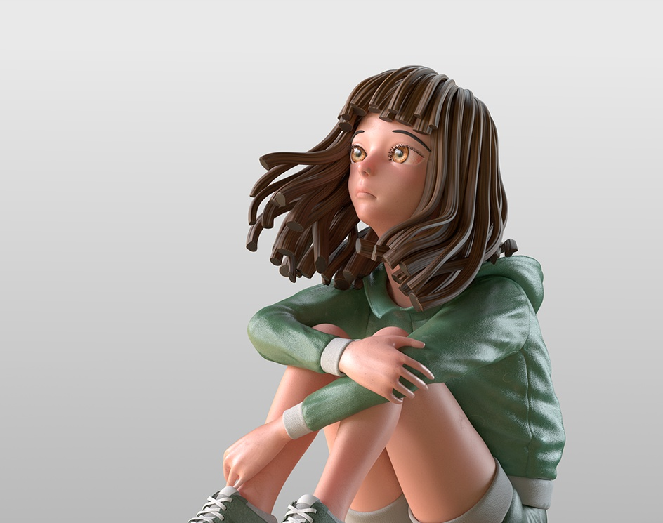 Take a rest character renderby Bernie Wu