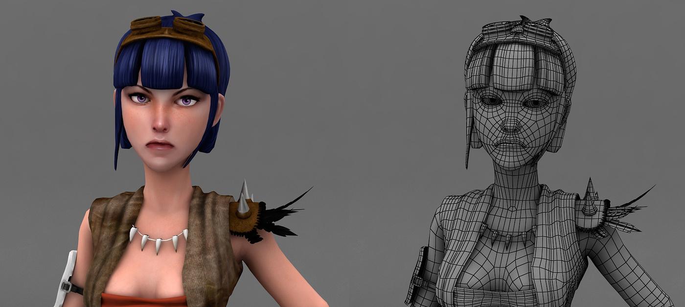 block rendering 3d base design female character model