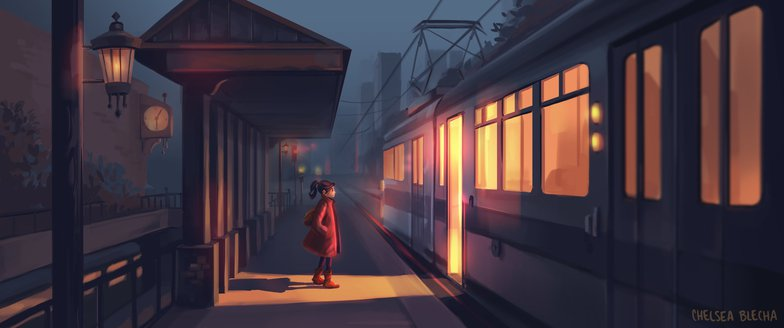 warm lighting female character train 2d illustration art