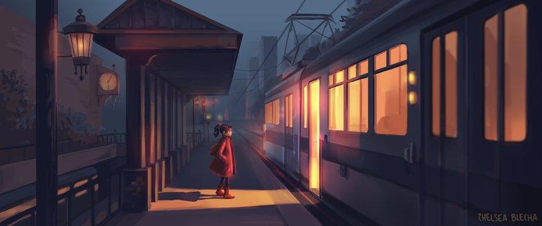 warm lighting female character train 2d illustration art