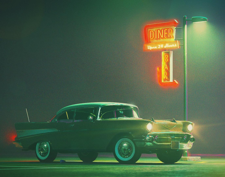 1957 Chevrolet Bel Air Sport Coupe in a night-time scene.by Taylor Cooper