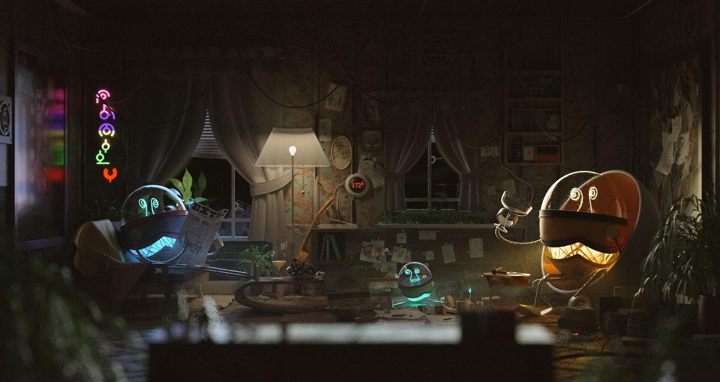 light bulb character environment design 3d model render