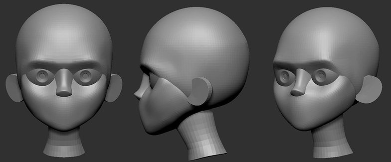 head structure in ZBrush