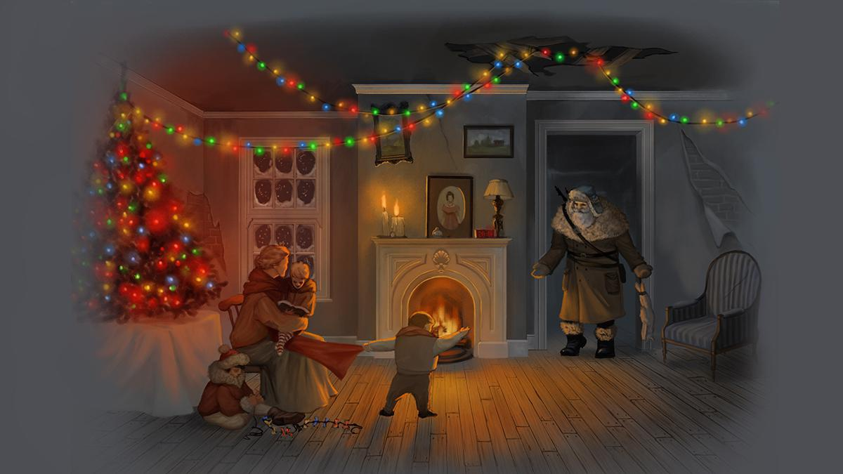 christmas post-apocalyptic illustration