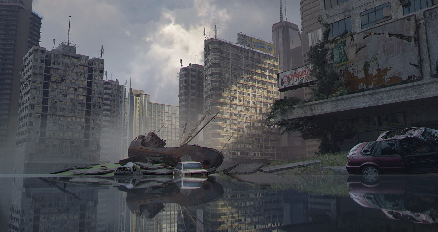 post-apocalyptic destroyed city landscape