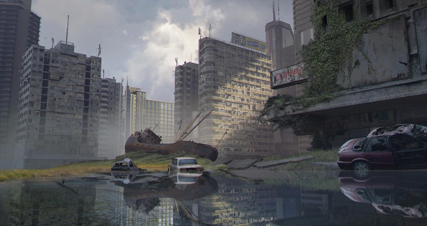ivy vines 3d model cityscape destroyed landscape
