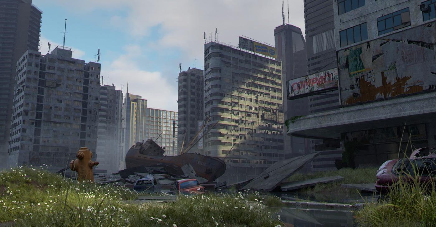 3d realistic apocalyptic scenery landscape blender model