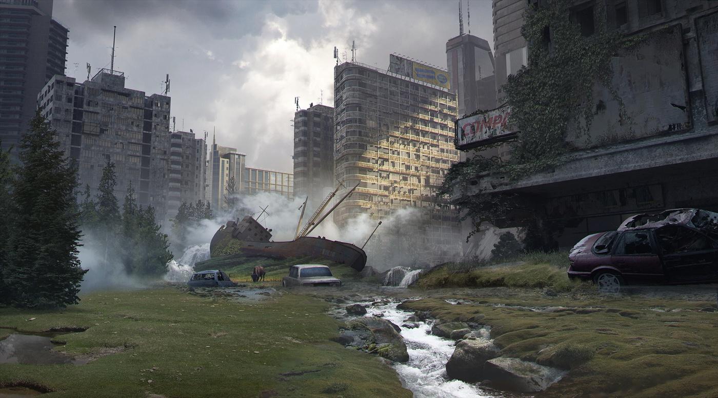 overgrown cityscape post-apocalyptic model blender