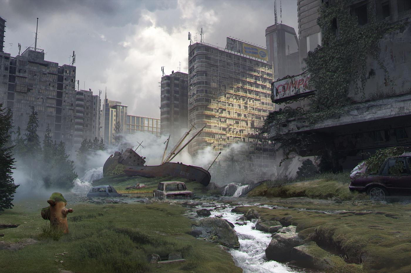 detailing city model building overgrown plants destruction