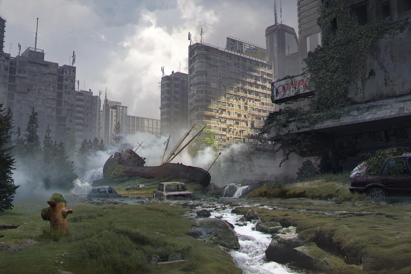 city model building overgrown plants destruction