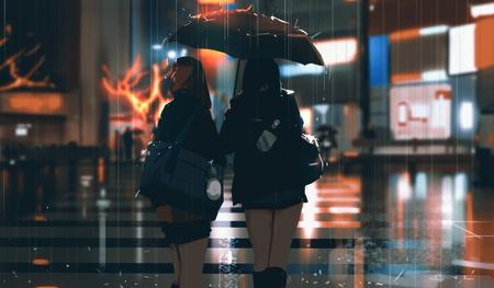 2d illustration digital art rain tokyo anime inspired