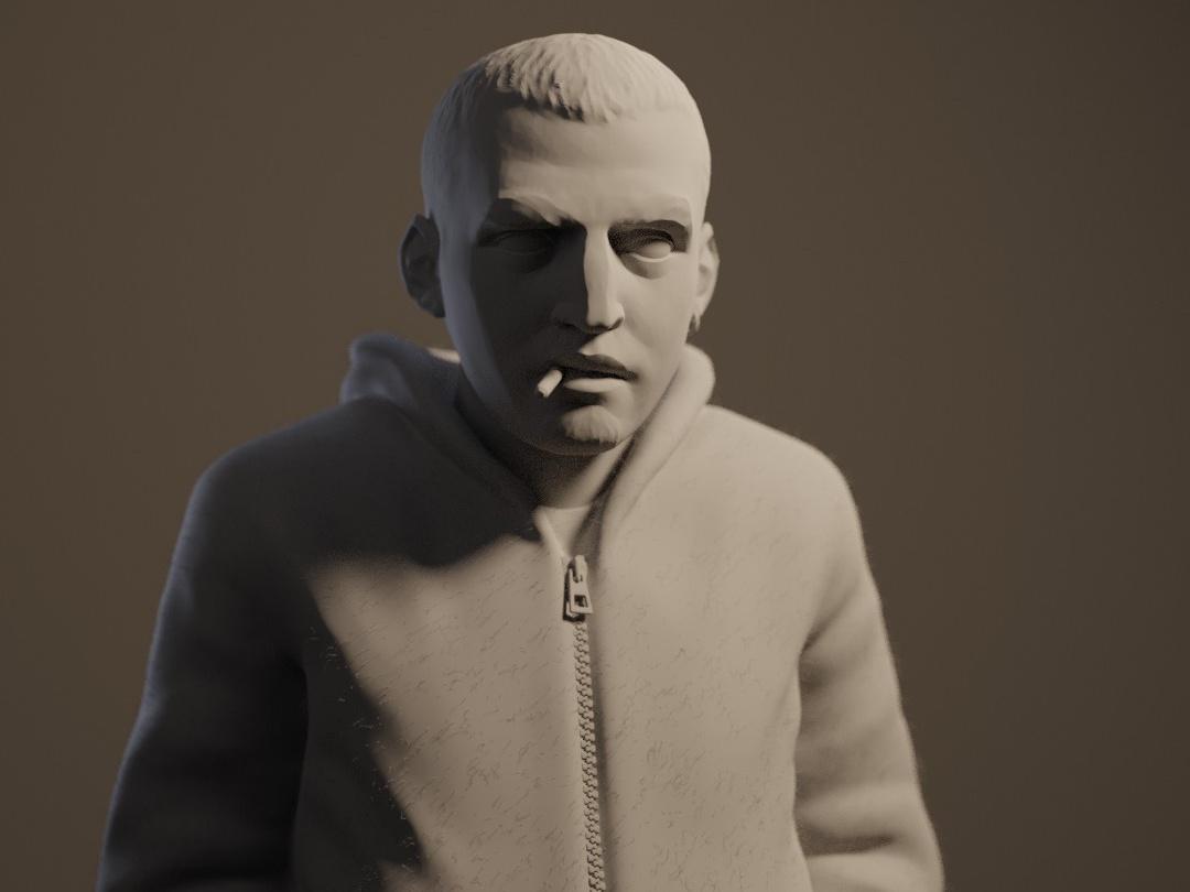 self portrait 2d model male realistic clay model