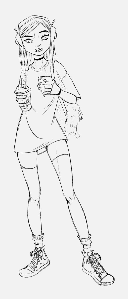 compelling girl character clean line drawing