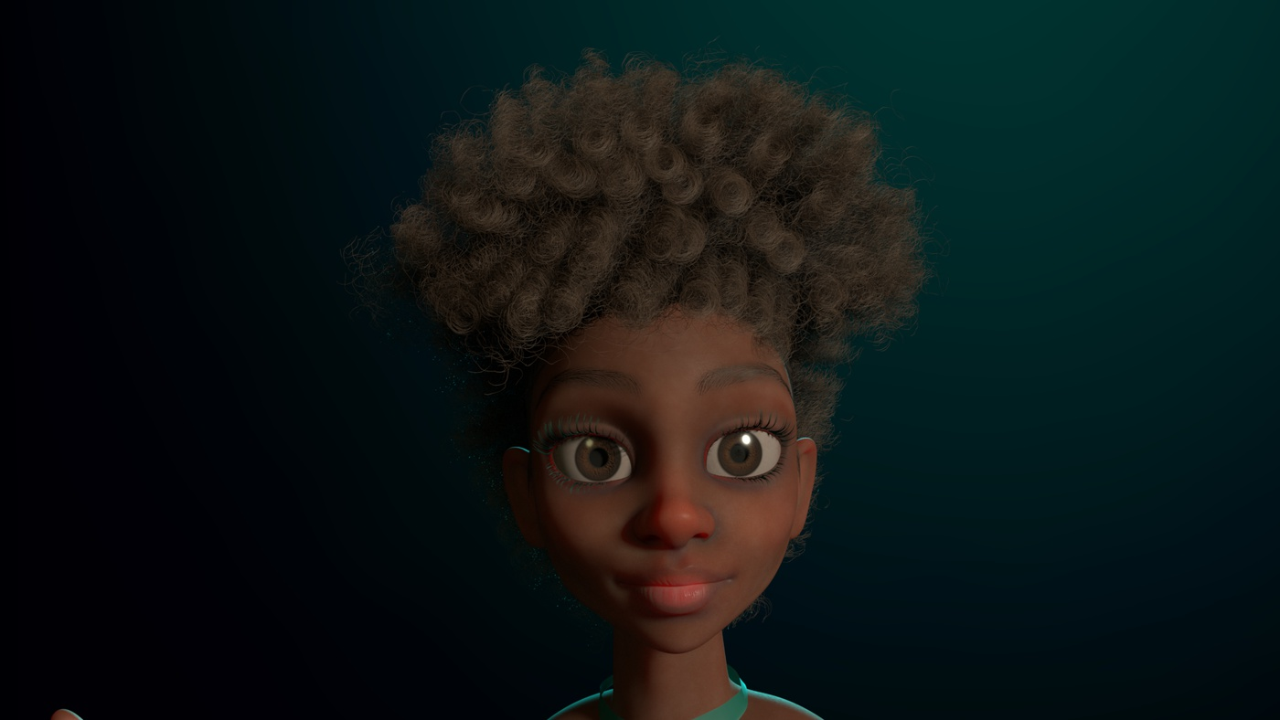female character design 3d render model