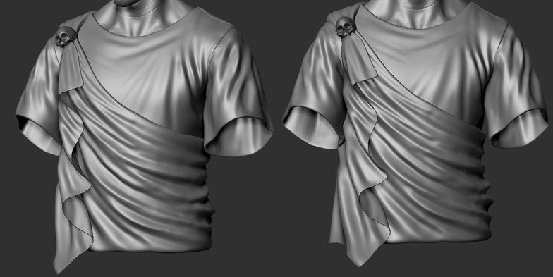 marvelous designer scarf and shirt zbrush