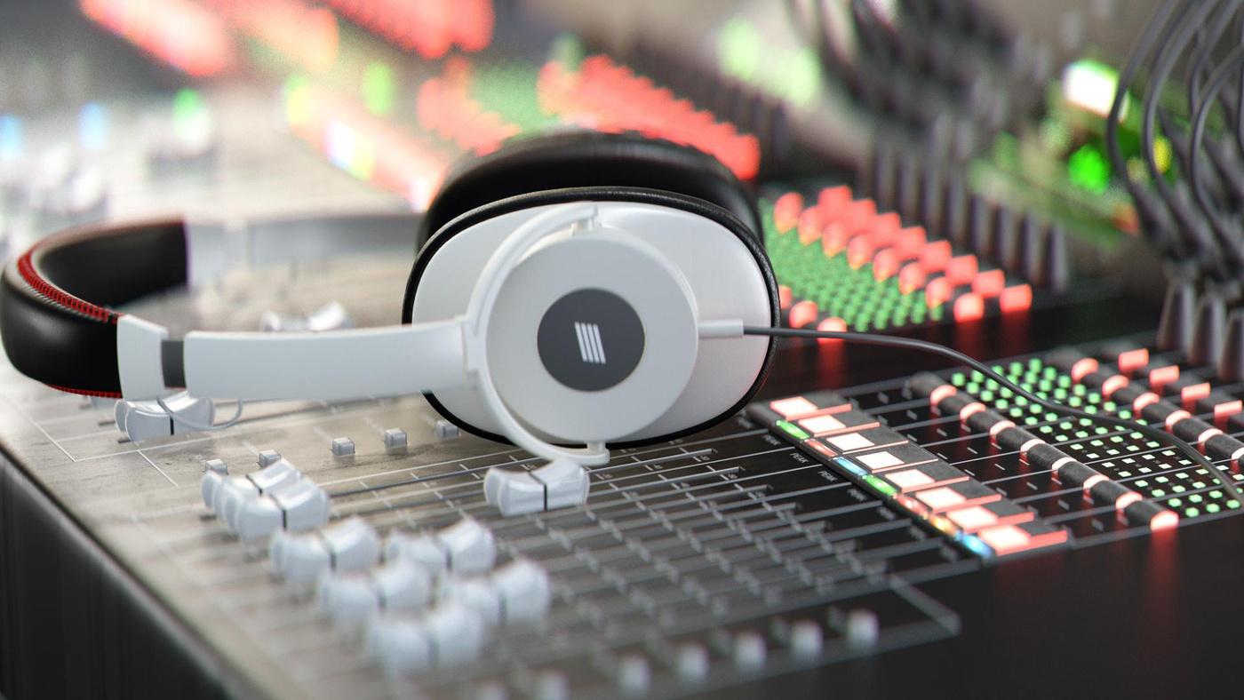 headset audio interface 3d model design render
