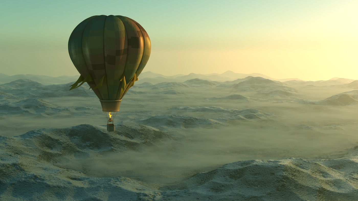 hot air balloon sky clouds scenery 3d mode