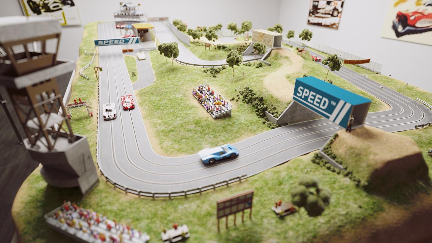 car racing track 3d model rendering