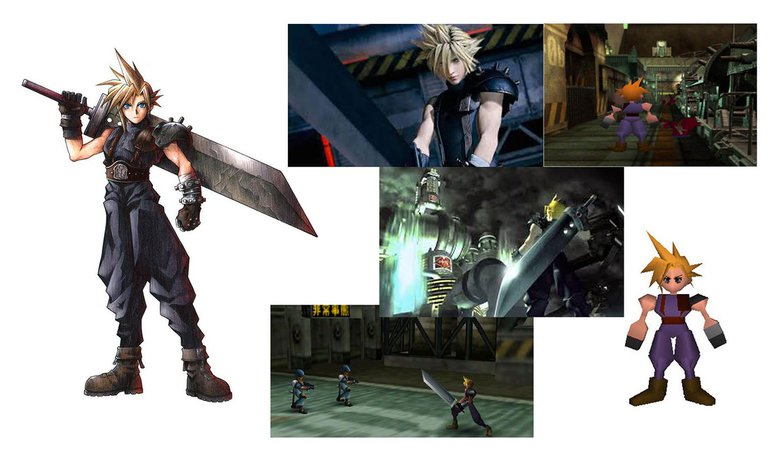 Cloud Strife, final fantasy, polygons