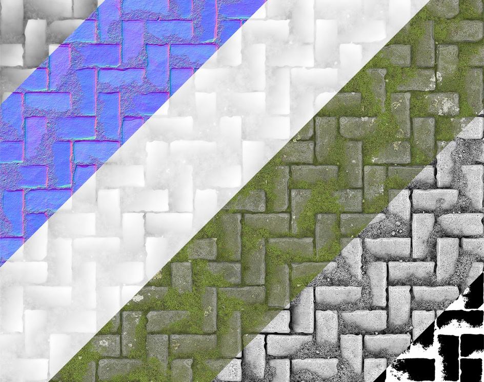 Procedural Mossy Cobblestone Material - Substance Designerby Marc Virgili