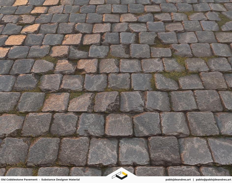 Old Cobbled Pavement - Substance Designer Materialby Pablo J. de Andrés