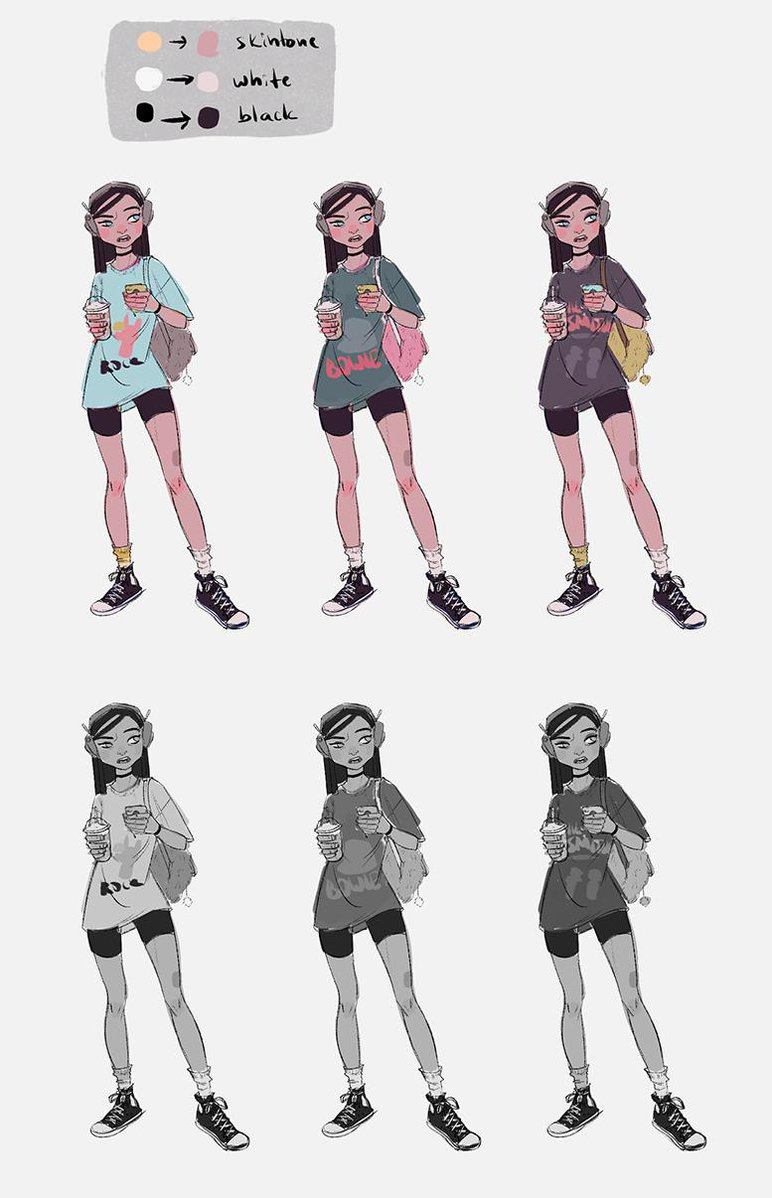 compelling girl character color thumbnails