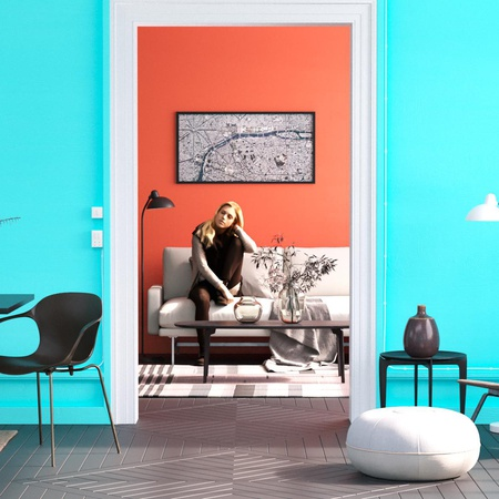 complementary colours in design orange blue