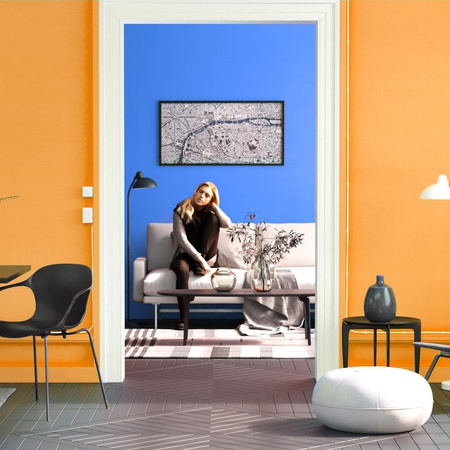 complementary colours in design blue yellow