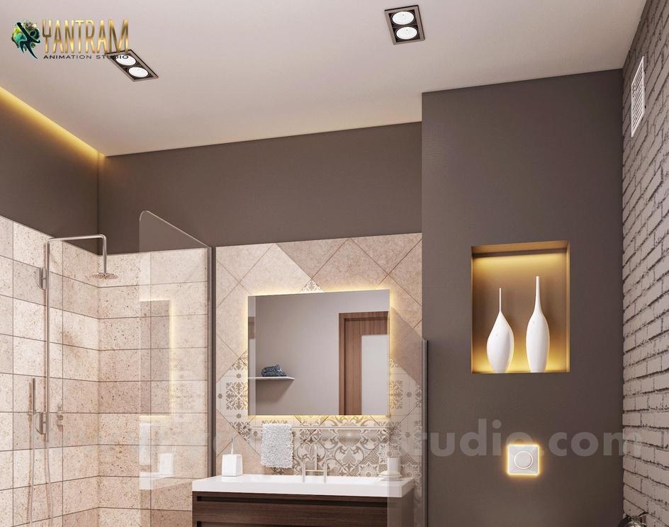 Contemporary Bathroom Decor Style Interior Design for Home by Architectural Animation Services, San Francisco,Californiaby Ruturaj desai