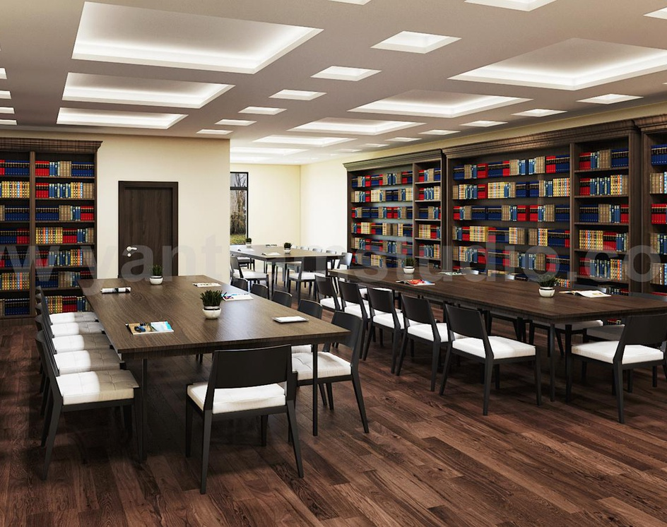 Contemporary Library Reading Room 3D Interior Modeling with Seating area by Architectural Design Studio, New York - USAby Ruturaj Desai