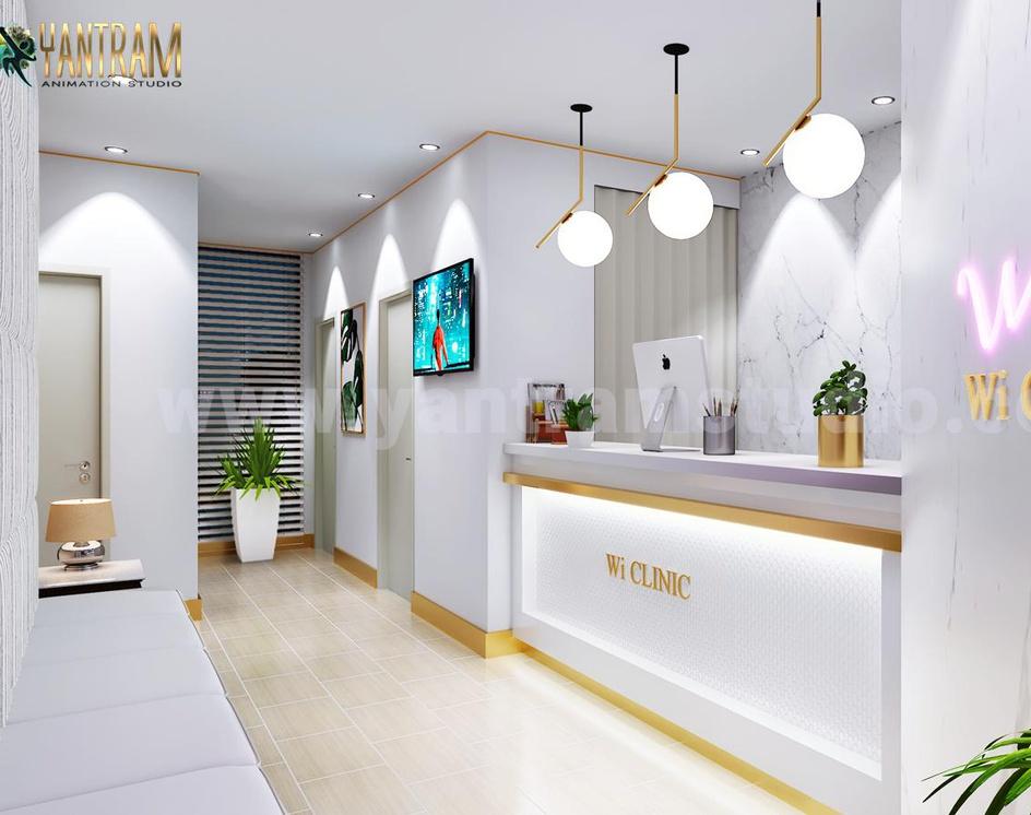 Contemporary, minimalist Office Reception Desk 3D Interior Designers by Architectural Animation Services, Austin, Texasby Ruturaj desai