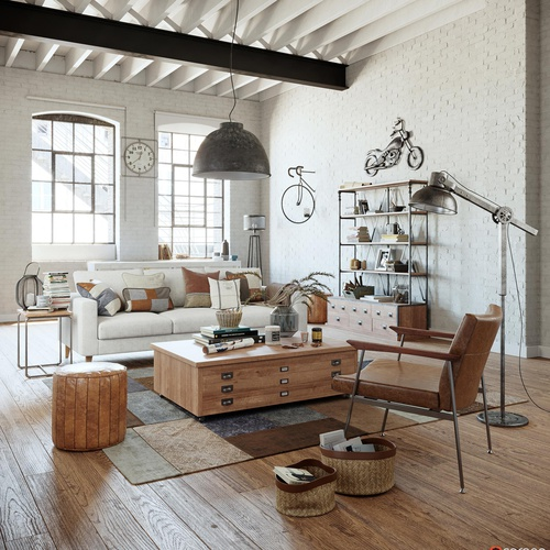 industrial apartment 3d modeling rendering living