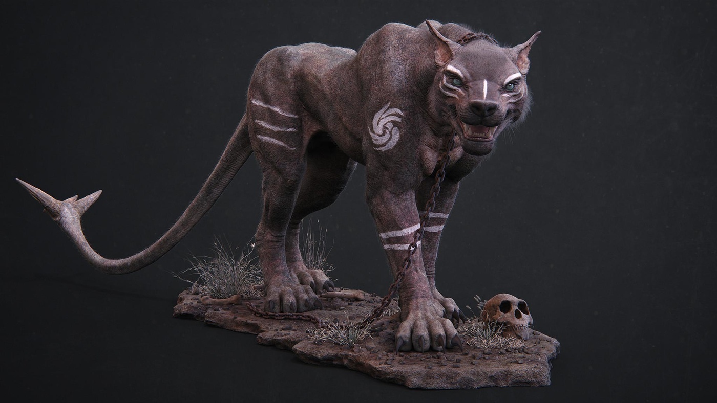 creature concept  zbrush painting sculpt tiger model