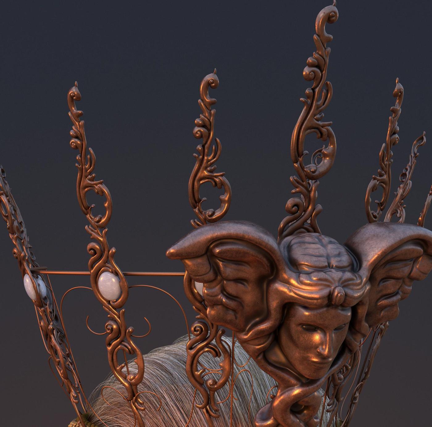 3d modelling crown greek mythology