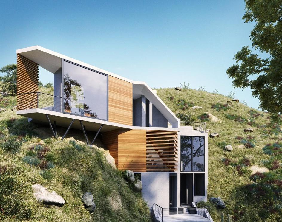 Custom Home in the Hollywood Hillsby DEER Design