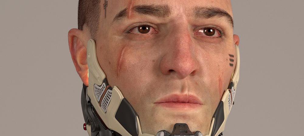 Cyberpunk 2077 male face 3d model