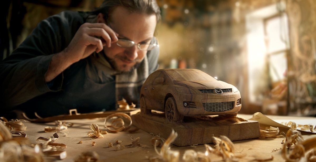 wood carving volvo car advertising