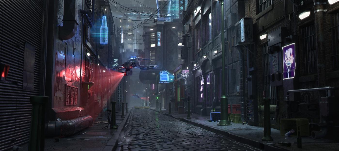 futuristic back alley with camera drone
