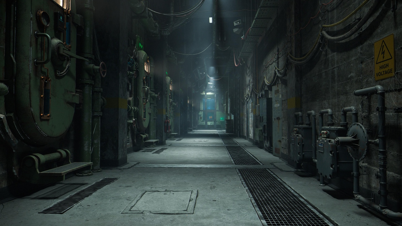 corridor metallic environment 3d model render base