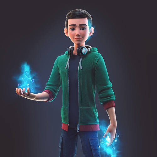 school kid with super powers, ice from hands