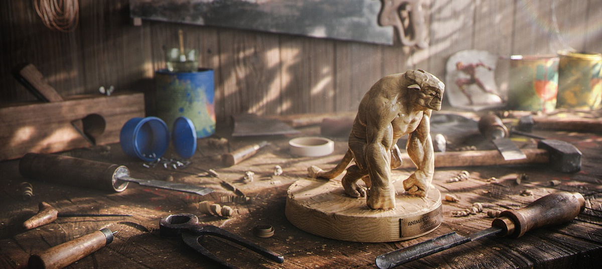 woodwork workshop sculpting a beast with chisels