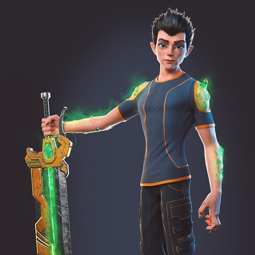school kid with super powers, green with a sword