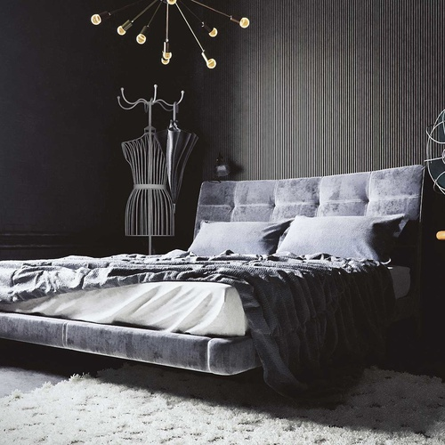 grey bedroom bed mattress realistic sculpt render 3d